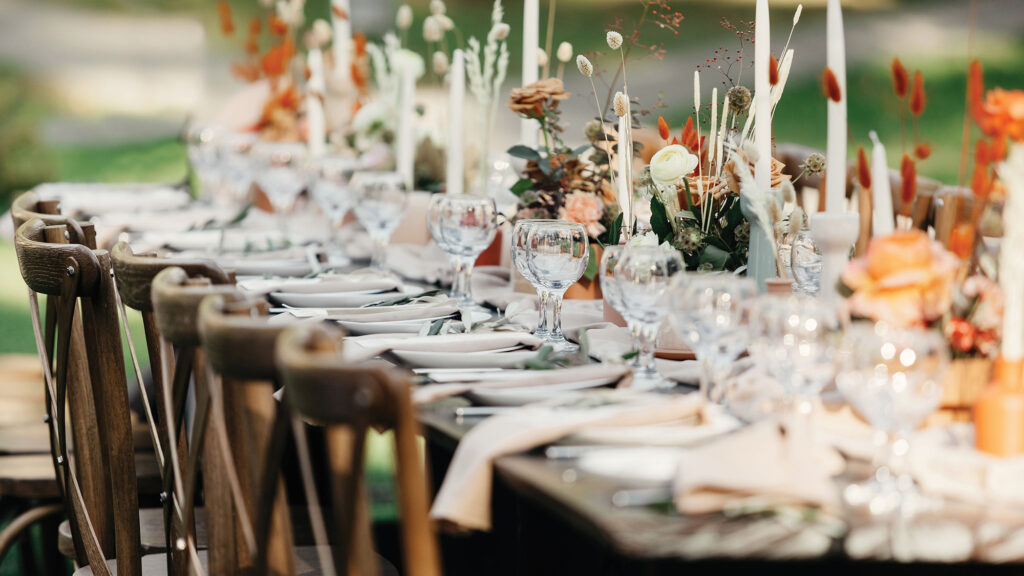 closeup of place setting at a wedding
